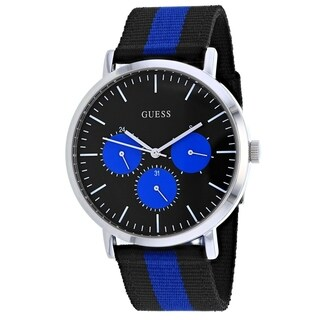 Guess Men's W1045G1 'Slate' Multi-Function Black and Blue Nylon Watch