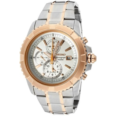 Seiko Men's SNAE08 'Lord' Chronograph Two-Tone Stainless Steel Watch