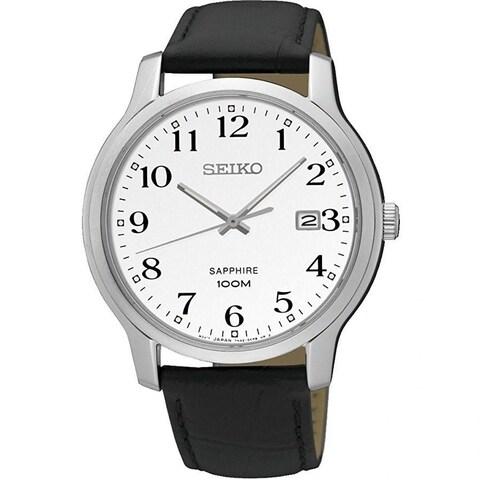 Seiko Men's SGEH69 'Sapphire' Black Leather Watch