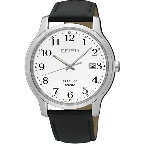 Seiko Men's SGEH69 'Sapphire' Black Leather Watch