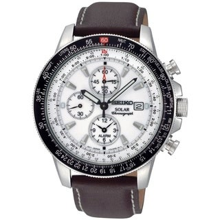 Seiko Men's SSC013 'Solar Flight' Chronograph Brown Leather Watch