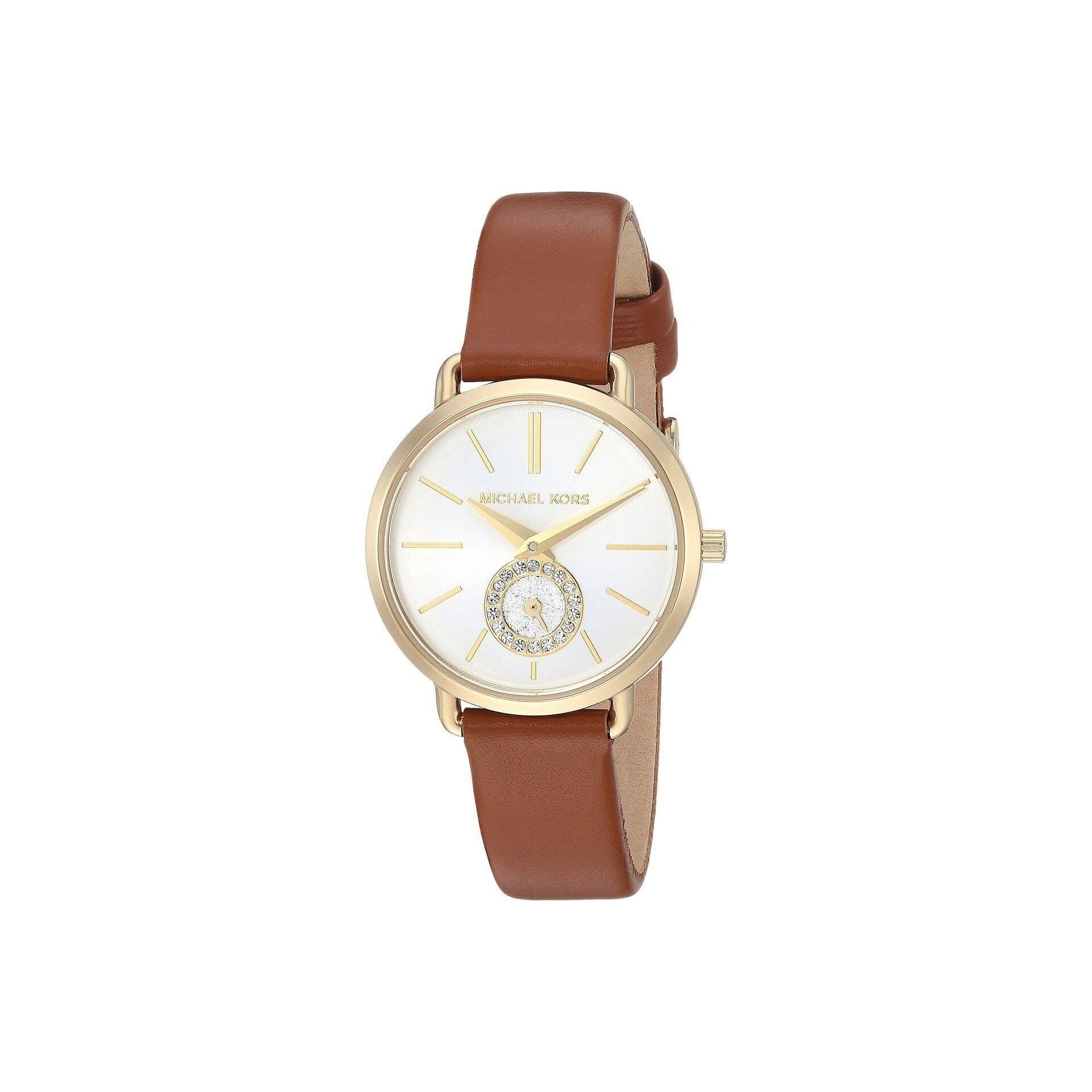Michael Kors Womens MK2734 Portia Crystal Brown Leather Watch