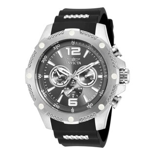 Invicta Men's 19656 'I-Force' Chronograph Black and Silver Polyurethane and Stainless Steel Watch