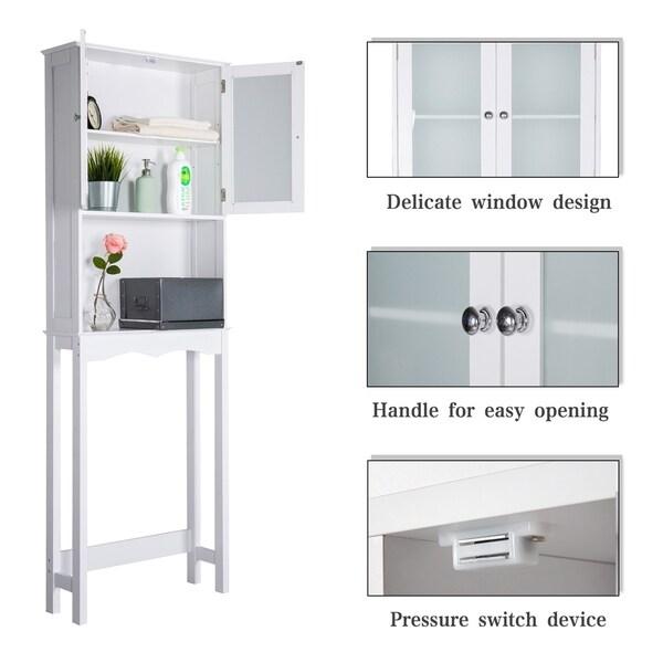 2-Tier Sliding Bathroom Storage Shelf White Organize Under Cabinet Space-Saving