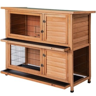 Merax Natura 2 Story Rabbit Hutch Sloped Roof Wood House Pet Cage for Small Animals