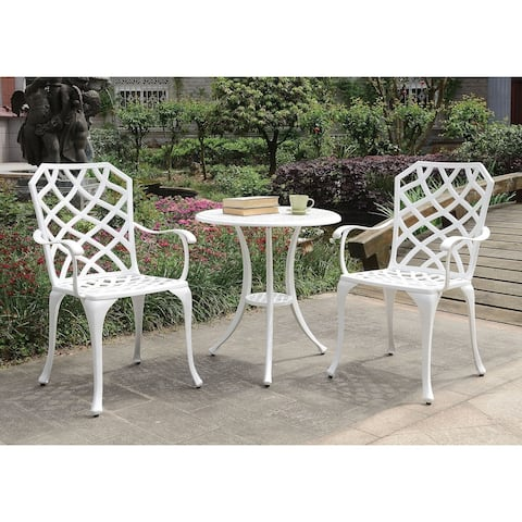 Table Set of 1 Table and 2 Chairs With Cabriole Legs, White