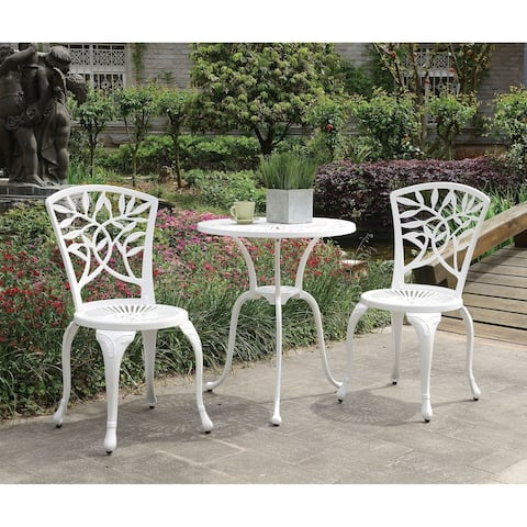 Transitional Style Table Set of 1 Table and 2 Chairs with Cabriole Legs, White