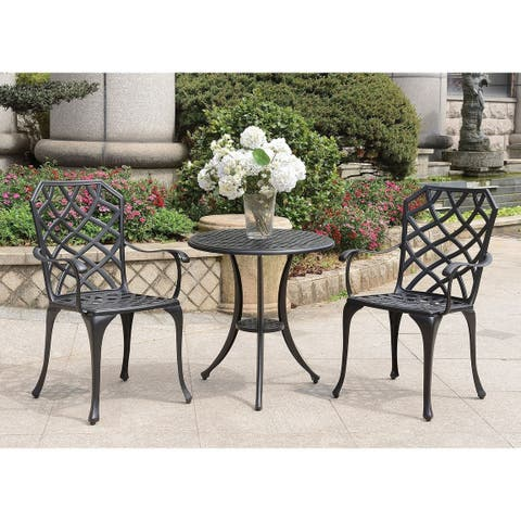 Table Set of 1 Table and 2 Chairs With Cabriole Legs, Black