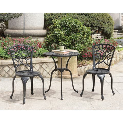 Transitional Style Table Set of 1 Table and 2 Chairs With Cabriole Legs, Black