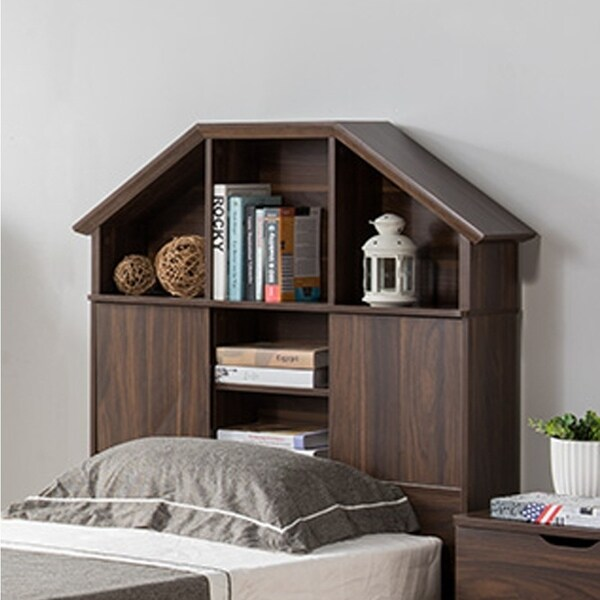 Twin Size Hut Style Bookcase Headboard In Wood, Dark Walnut Brown
