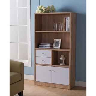 Wooden Bookcase/ File Cabinet With 3 Shelves, Light Brown And White