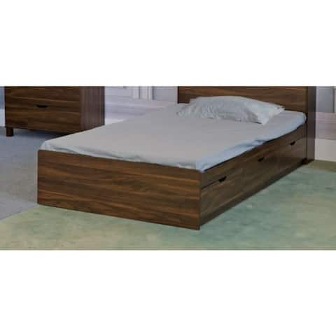 Wooden Twin Size Chest Bed with 3 Drawers, Dark Walnut Brown