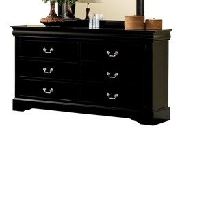 Wooden Dresser With Six Drawers , Black