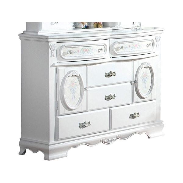 Wooden Dresser With 6 Storage Drawers & 2 Door Cabinets, White