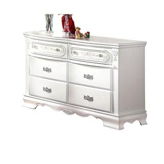 Wooden Dresser With 6 Storage Drawers, White