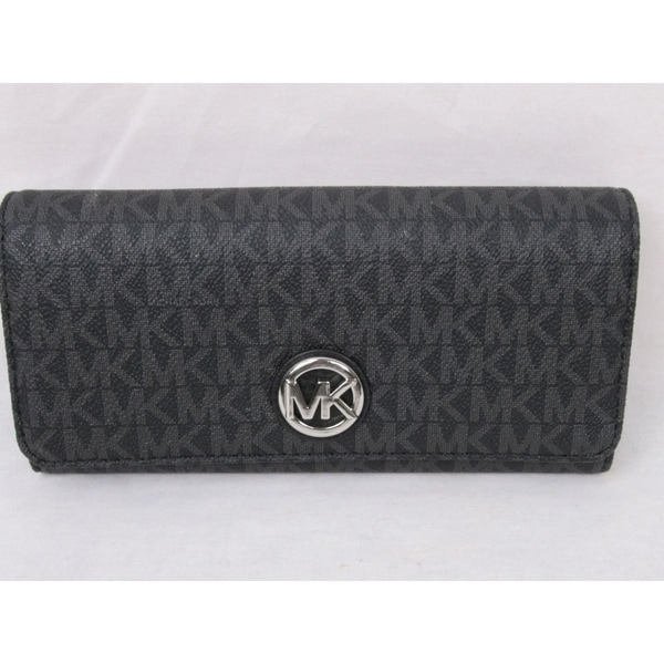 c0dcc116cde84b Shop Michael Kors Signature PVC Fulton Flap Continental Wallet Black ...