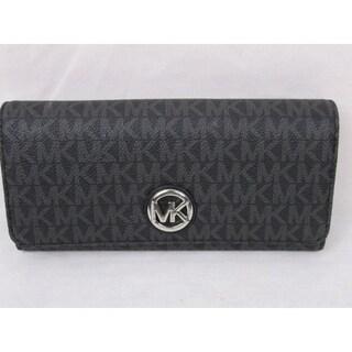 Michael Kors Signature PVC Fulton Flap Continental Wallet Black