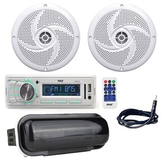 Pyle Boat Receiver w/ (2) 6.5 Inch 240W Yacht Speakers, Antenna, Shield