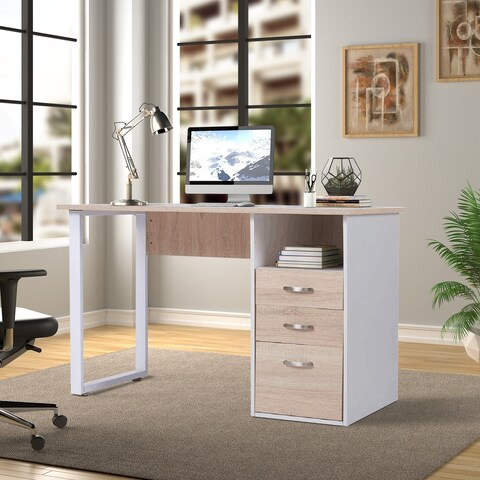 Merax Modern Simple Design Computer Desk Table Workstation with Cabinet and Drawers