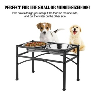 Iron Elevated Stainless Steel Double Bowls Pet Water Food Feeder Supplies