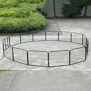 16 Panel Pet Cage Playpen Dog Exercise Fence Large Kennel Yard Animal Run Cage - black