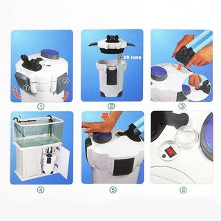 200 Gallon Aquarium Fish Tank External Canister Filter With 4 Stage Filtration - White
