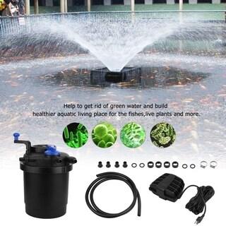 1600 Gallon Pond Filter 11W Sterilizing UV Sterilizer Light+1320GPH Water Pump - Black