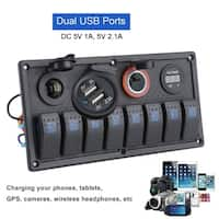 9-30V LED Switch Panel Breaker Dual USB 8 Gang Marine Boat Rocker Voltmeter - black