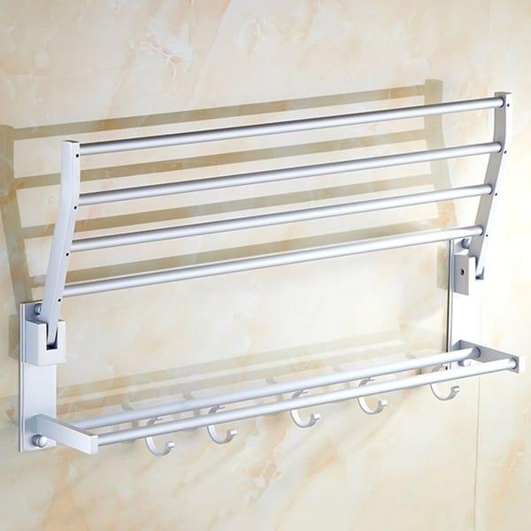 Double Tiers Aluminum Towel Shower Shelf Rack Holder with 5 Hooks 50cm