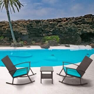 Kinbor 3 PCs All-weather Wicker Rocking Set Patio Lawn Garden Chat Set Outdoor Rattan Armchair w/ Cushions