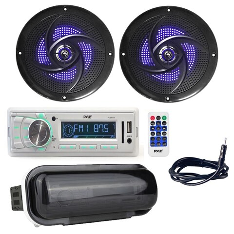 "Pyle Marine Stereo Radio Receiver with (2) 6.5"" 240W Low-Profile Slim Style Waterproof Rated Marine Speakers"