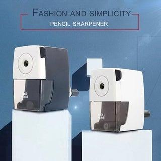 Deli Metal Pencil Sharpener Student Office Pencil Cutting Machine 0610B - Black & White