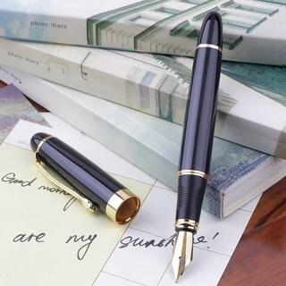 Jinhao X450 Fountain Pen Black Mordern Medium Nib Gold Trim Perfect