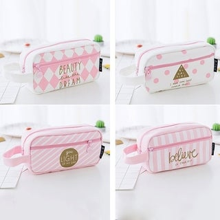 Large Capacity Students School Pencil Bag Pencil Pouch Office Stationery - Pink