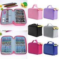 Zipper Pencil Bag Multilayer 52 Holes Pencilcase Office School Stationery