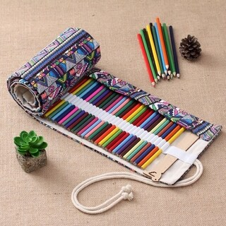 National Wind Style Vintage Pencil Bag Classic Foldable Canvas Pencil Pouch - multi-color mixed