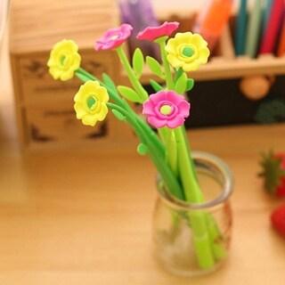 0.38MM Lovely Flower Shape Black Ink Silicone Pens Student Ballpoint Pen