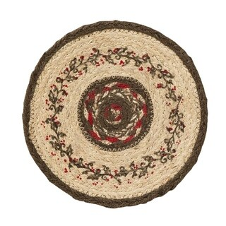 VHC Holly Berry Crimson Red Holiday Christmas Tabletop & Kitchen Stenciled Jute Trivet