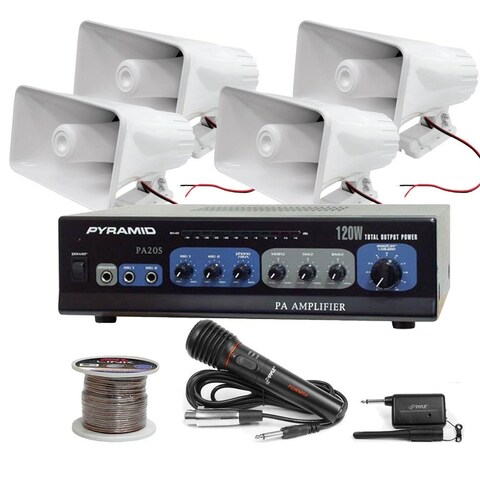 Pyle KTHSP520 120W PA Amplifier System - Speakers, Wire & Wireless Mic