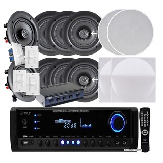 """Pyle KTHSP390 4 Pairs of 150W 5.25"""" In-Wall w/ 300W Receiver/Selector"""
