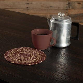 VHC Burgundy Tan Jute Red Primitive Classic Country Tabletop & Kitchen Trivet