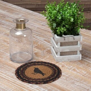 VHC Heritage Farms Mustard Tan Yellow Primitive Tabletop & Kitchen Crow Stenciled Jute Trivet
