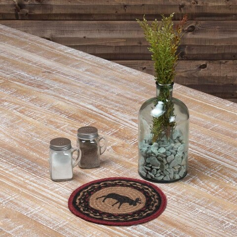 VHC Cumberland Almond Tan Rustic & Lodge Tabletop & Kitchen Moose Stenciled Jute Trivet