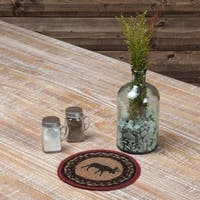 VHC Cumberland Almond Tan Rustic & Lodge Tabletop & Kitchen Moose Stenciled Jute Trivet