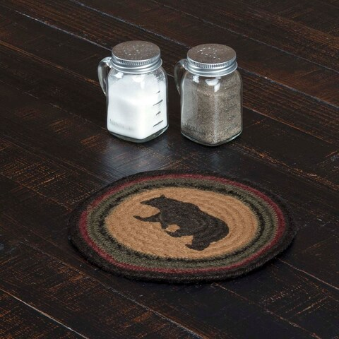 VHC Wyatt Dark Tan Rustic & Lodge Tabletop & Kitchen Bear Stenciled Jute Trivet
