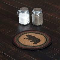 VHC Wyatt Dark Tan Rustic & Lodge Tabletop & Kitchen Bear Stenciled Jute Trivet