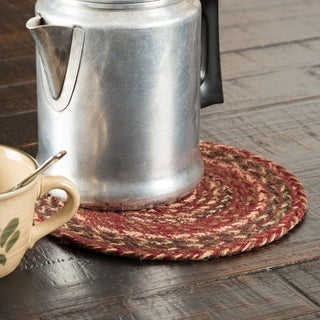 VHC Cider Mill Burgundy Red Primitive Country Tabletop & Kitchen Jute Trivet