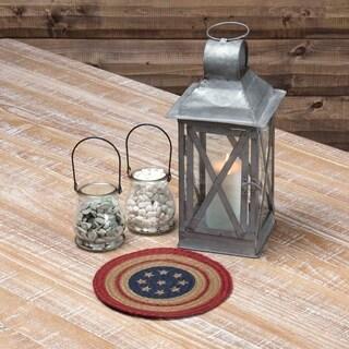 VHC Liberty Stars Americana Red Seasonal Tabletop & Kitchen Flag Stenciled Jute Trivet