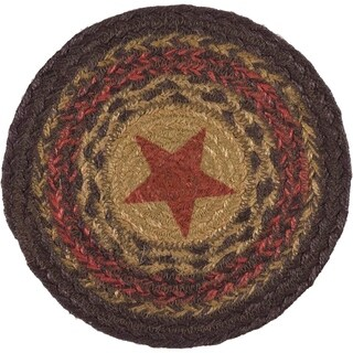 VHC Landon Almond Tan Primitive Classic Country Tabletop & Kitchen Stars Stenciled Jute Trivet