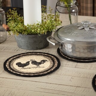 VHC Sawyer Mill Farmhouse Classic Country Tabletop & Kitchen Poultry Stenciled Jute Trivet